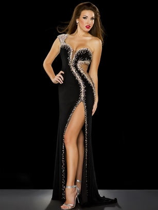 Miss USA Mac Duggal Black One Shoulder Evening Gown 50070P|PageantDesigns.com