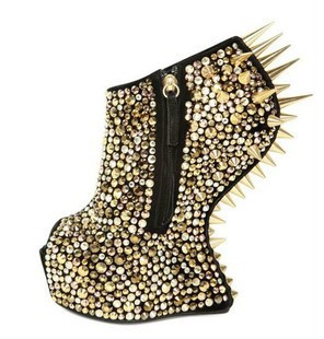 ladies no heel platform shoe  spike wedges rivet shoes with rhinestone high heels shoes for women Silver Gold FREE shipping  -in Pumps from Shoes on Aliexpress.com