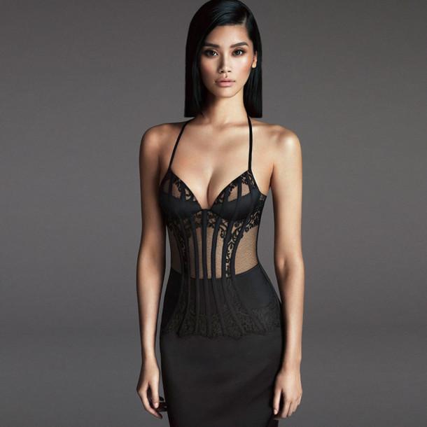Target Office Chairs Dress: black, long dress, lace dress, bra, lingerie, prom ...