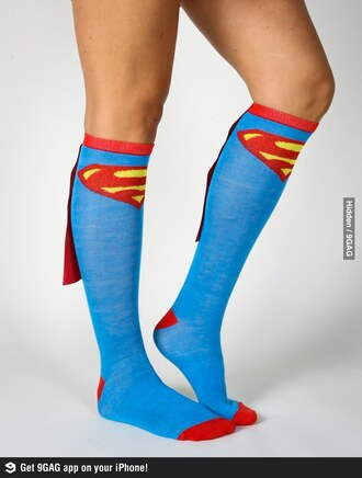 shoes superman socks cape blue red yellow