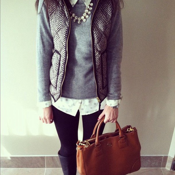 jacket vest grey vest grey sweater sweater collar collared shirt statement necklace pearl pearl preal necklace preppy preppy sweater polka dots polka dot blouse button up button up blouse layered layered outfit layered shirt leggings boots black boots black leggings black leggings leggings and boots leather bag handbag brown bag brown purse leather purse satchel satchel bag satchel bag tan bag tan purse tumblr outfit tumblr winter winter sweater winter outfits preppy vest