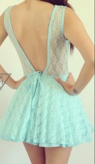 Mint Lace Backless Dress on Luulla