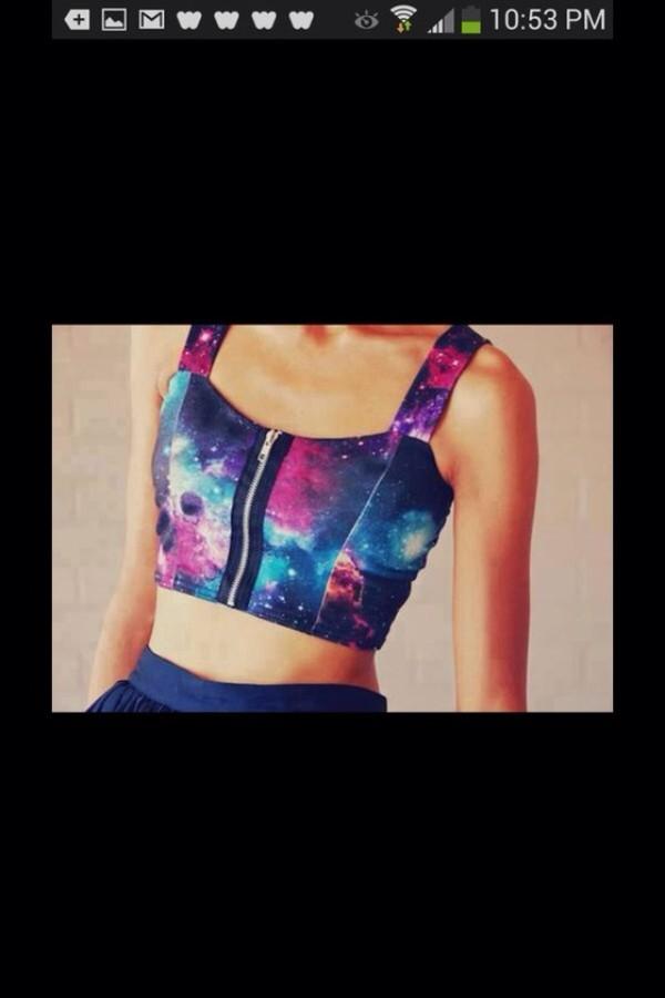 tank top galaxy print zipped top shirt skirt neon t-shirt crop tops tumblr girl outfit