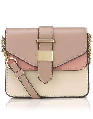 Colour block Double Flap Across Body | Pink | Accessorize