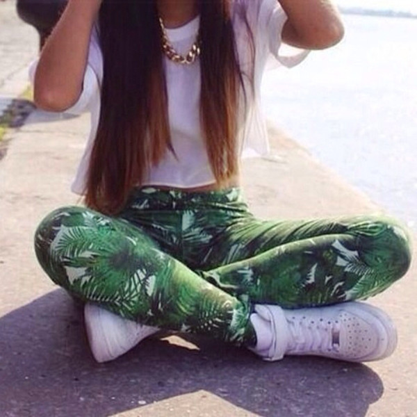 leggings pants palm tree print jeans green summer swag hipster shoes