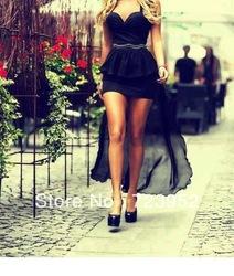Online Shop 2013 Best Seller Chic Sexy Sweetheart High Low Black Dress Peplum Prom Dress Asymmetric Hemline Evening Party Dress|Aliexpress Mobile