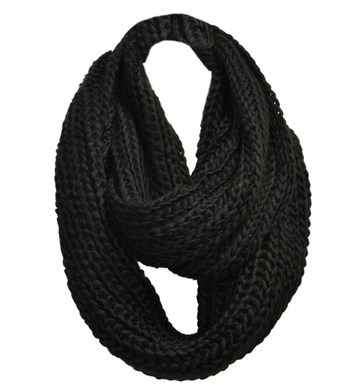 Infinity Scarf - Black Knitted