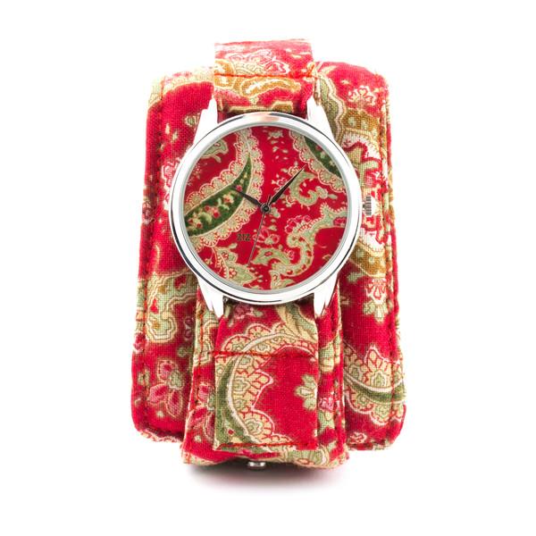 jewels soft watch cotton strap red turkish pattern unusual watch unique watch designer watch bright watch ziziztime ziz watch
