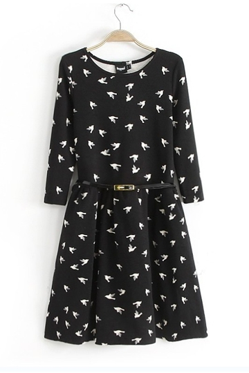 Flying Birds Print Slim Fit Dress [SHWM00027]- US$ 19.99 - PersunMall.com