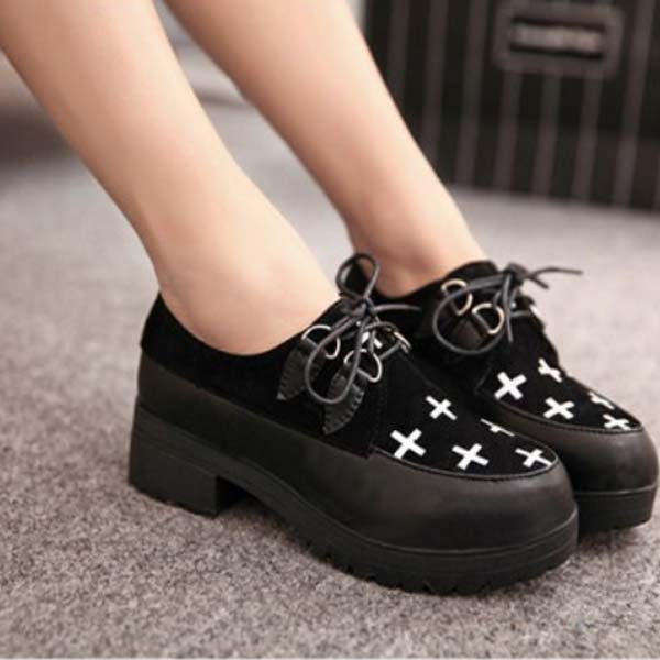 Lace Up Thick Bottom Color Matching Women Platform Shoes - CA$21.18