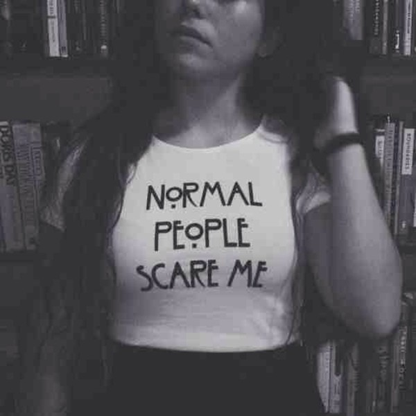 shirt normal people scare me american horror story crop tops white horror shirts