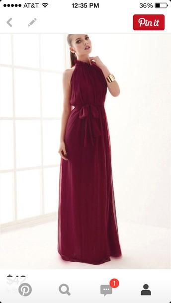 dress wine high neck dress