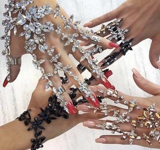 jewels rhinestones diamonds hand jewelry ring knuckle ring jewelry boho jewelry