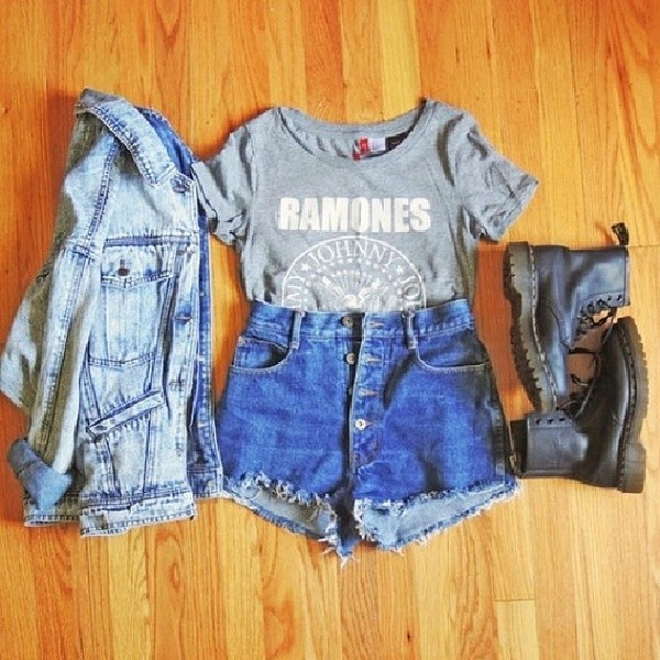 shirt jacket shorts shoes t-shirt cute high waisted denim shorts denim jacket band t-shirt boots t-shirt t-shirt top white grey tank top logo