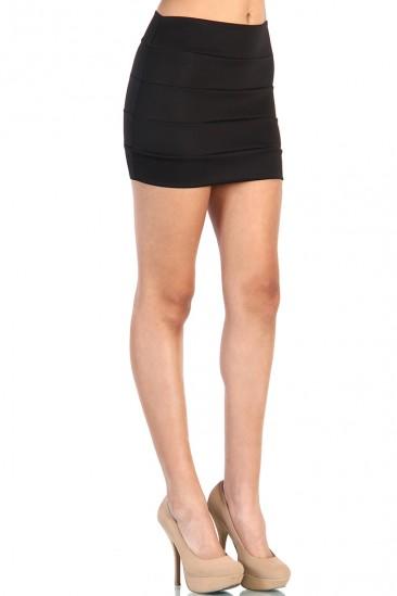 OMG Banded Bodycon Mini Skirt - Black