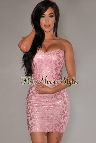 Rose Pink Lace Sequins Padded Strapless Dress