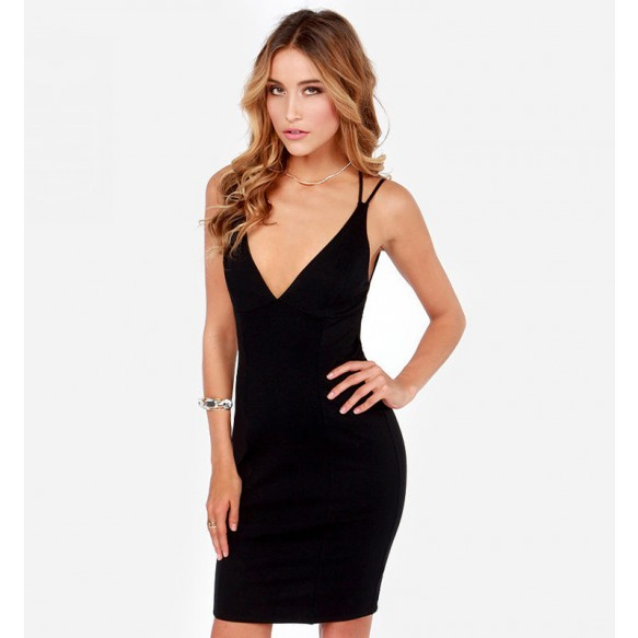 Backless Bodycon Pencil Dress With Strap Detail at Style Moi