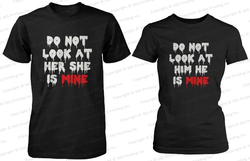 His and Her Matching Halloween Horror Couple Shirts do not Look at Her and Him | eBay