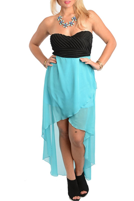 Turquoise Black Plus Size Sexy Cut Out High-Low Dress