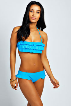 Hawaii Ruffle Bandeau Bikini at boohoo.com