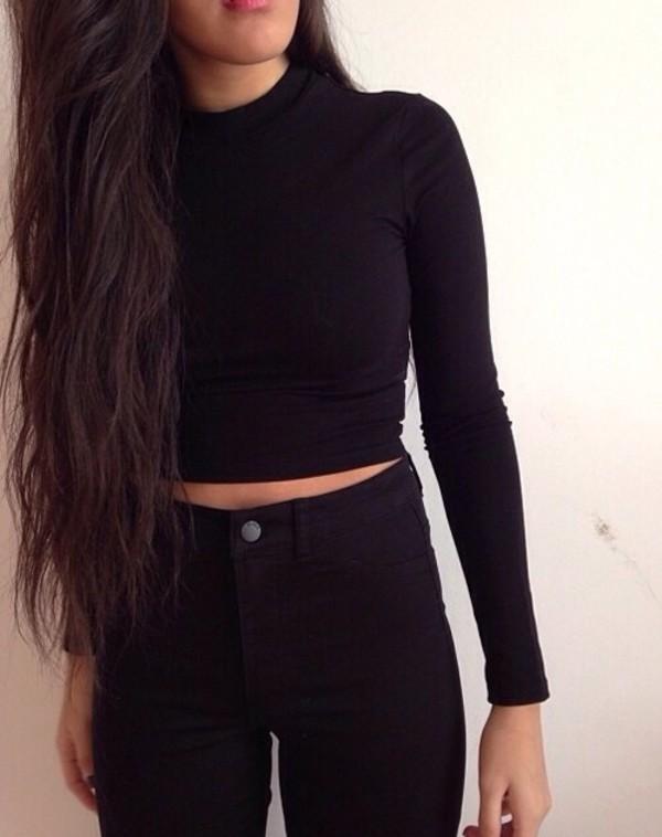 also the jeans black long sleeves shirt black crop winter top long vintagw black crop winter top long cold