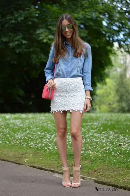 White A-line Flowers Crochet Skirt - Sheinside.com