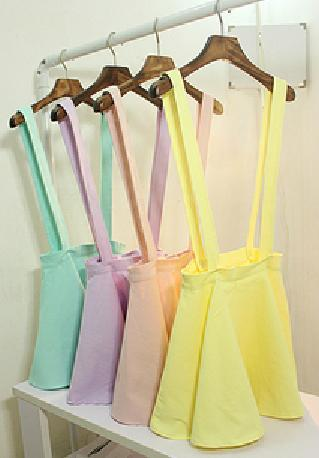 Best Quality,Cotton Ice Cream Color Braces Skirt For Women,Preppy Style Ruffles Skirts With Shoulder straps,Free Shipping-in Skirts from Apparel & Accessories on Aliexpress.com
