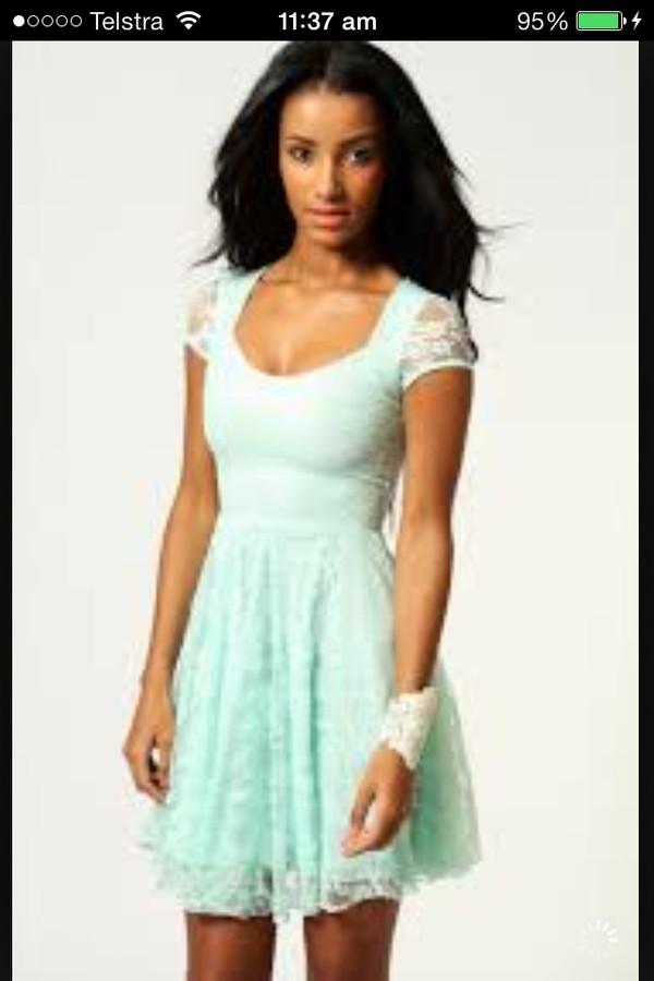 dress blue lace shoulders dress