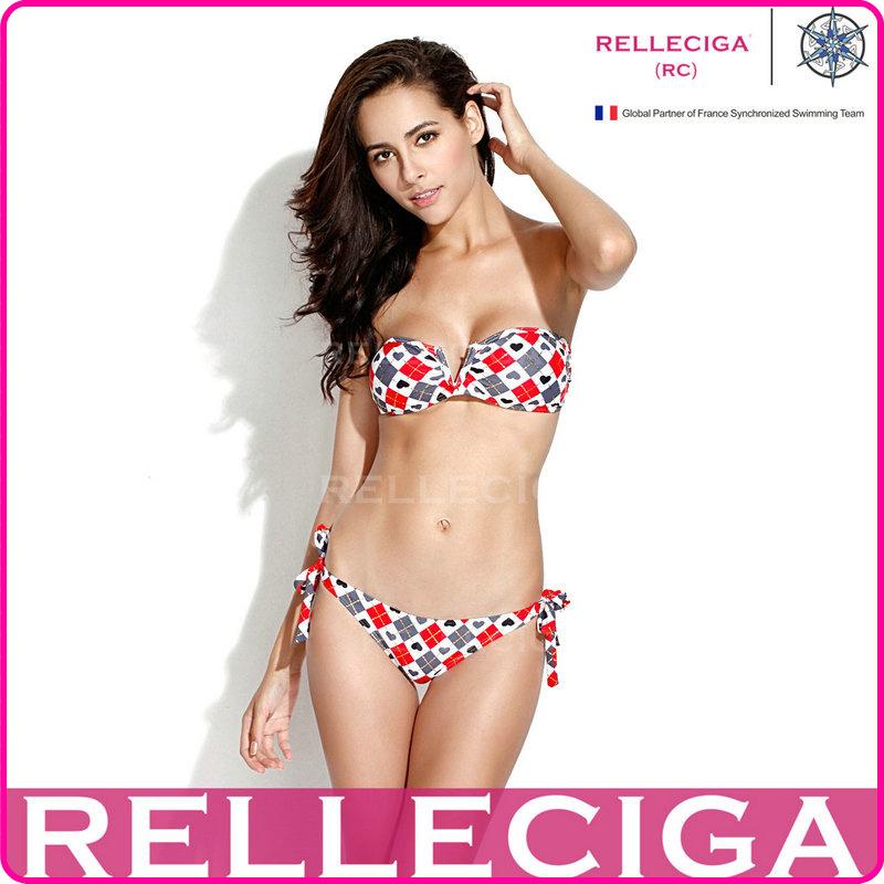 Sexy RELLECIGA 2014 New Shiny Swimsuit   Orange Diamond Pattern V Wire Strapless Bandeau Gold Bikini Set Swimwear-in Bikinis Set from Apparel & Accessories on Aliexpress.com