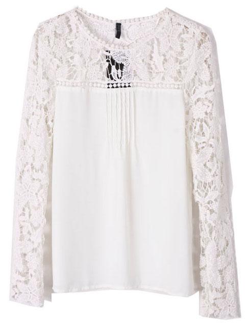Beige Contrast Lace Hollow Long Sleeve Blouse - Sheinside.com