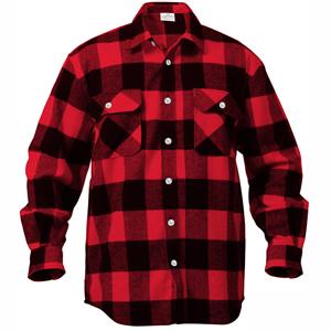 Red / Black - Buffalo Plaid Extra Heavyweight Brawny Flannel Shirt - Army Navy Store