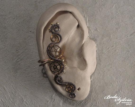 STEAMPUNK  brass and copper ear cuff by bodaszilvia on Etsy