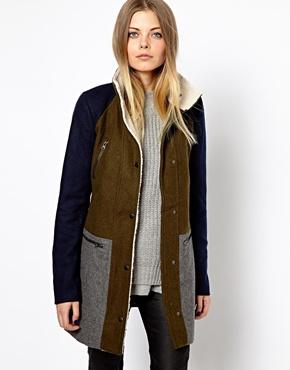 Vero Moda | Vero Moda Color Block Teddy Collar Coat at ASOS