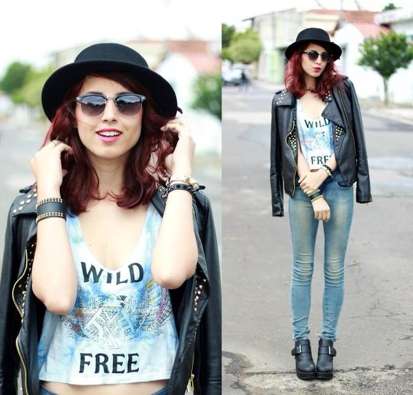 jacket tank top sunglasses hat jeans