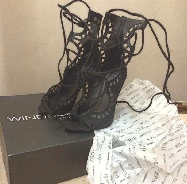 shoes heels gladiators strappy black heels strappy heels
