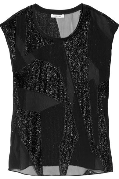 Helmut Lang|Eros leather-trimmed fil coupé top|NET-A-PORTER.COM