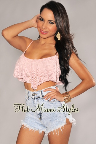 Baby Pink Chevron Flare Cropped Top