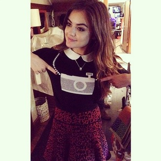 lucy hale pretty little liars aria montgomery skirt collar