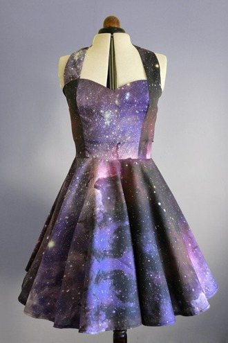 dress blue purple stars galaxy print