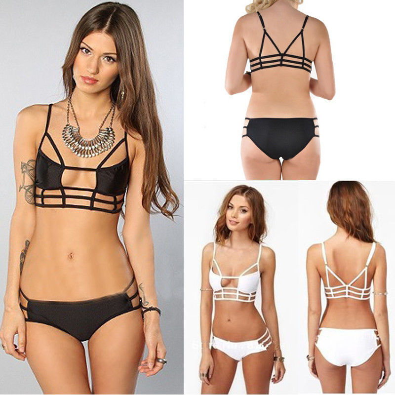 2pcs Sexy Caged Cut Out Swimsuit Bikini Set Bathing Suit Padded Push Up Swimwear   eBay