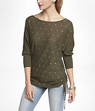 STUDDED SIDE RUCHED TUNIC SWEATER | Express