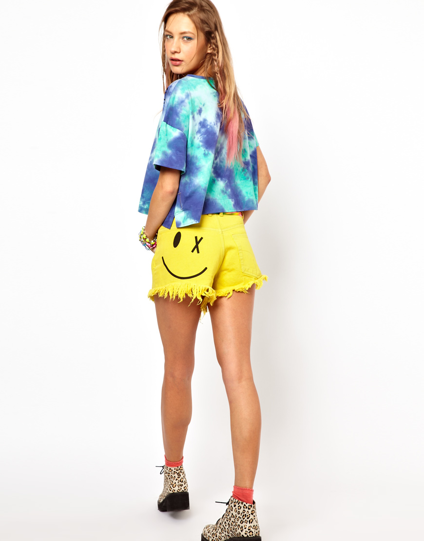Bitching & Junkfood Denim Shorts with Acid Face Yellow Size XS UK 8/EU 36/US 4   eBay