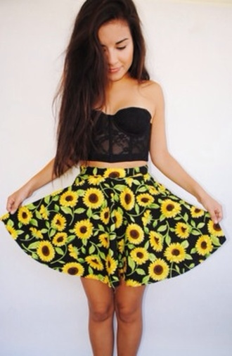 skirt sunflower bralette lace bralette lace black bralette black bralette printed skirt printed mini skirt sunflower print sunflower printed skirt circle skirt printed circle skirt sunflower circle skirt top coat daisy skirt skater skirt sunflower skirt crop tops black crop top shirt sun flower yellow floral black lace cute