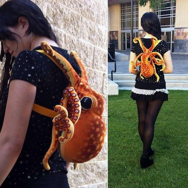 bag octopus backpack animal lovely shorts #dipdye #studs #cute #want baby pink soft ears 3d alternative pack purse packback bag mermaid orange