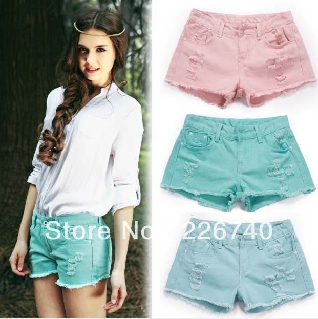 Women Latest Design High Waist Lady Destroy Ripped Metal Studs For Clothing, denim shorts,short jeans-in Shorts from Apparel & Accessories on Aliexpress.com