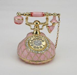 Amazon.com: Pink Telephone Box set with Swarovski Crystals Vintage Style Antique Phone FIGURINE: Sparkling Collectibles: Jewelry