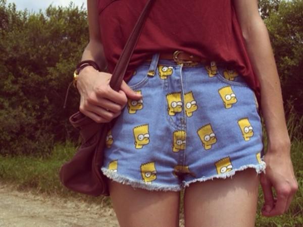 shorts bag shirt bart simpson jean shorts cuuuuuute pants bart simpson denim shorts high waisted print
