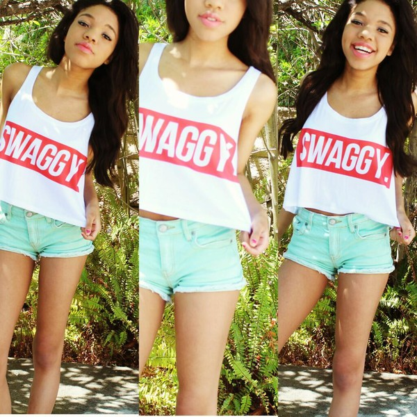 tank top swag white red mint shorts cute and that crop tops top
