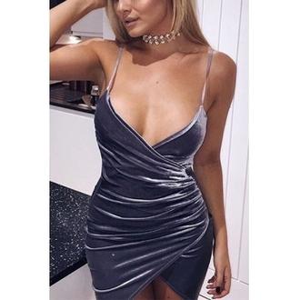 dress velvet wrap blue grey silver xmas christmas party xmas party dress party dress sexy party dresses
