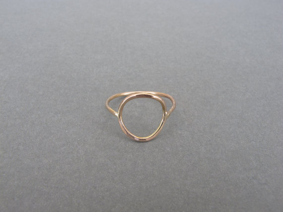 14K Gold Circle Hammered Rings от nonComplex на Etsy